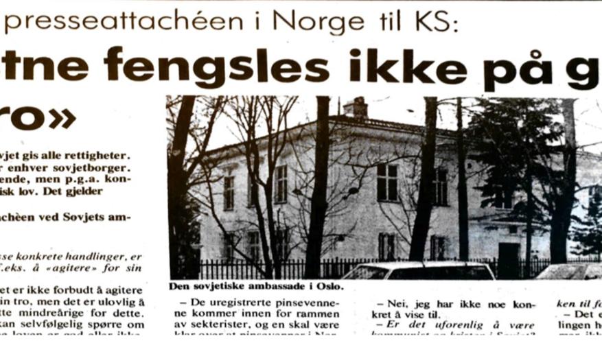 Sovjets Oslo-ambassade: - Kristne fengsles ikke på grunn av sin tro